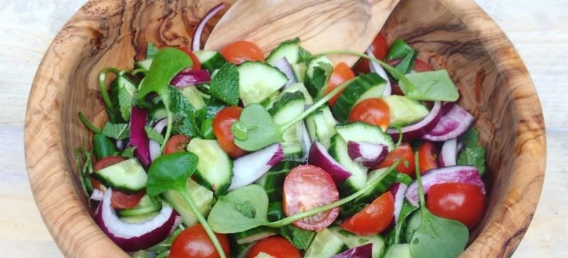 Detox recept: Iraanse Shirazi salade met postelein. Een heerlijke detox lentesalade, fris, zuur , hartig.