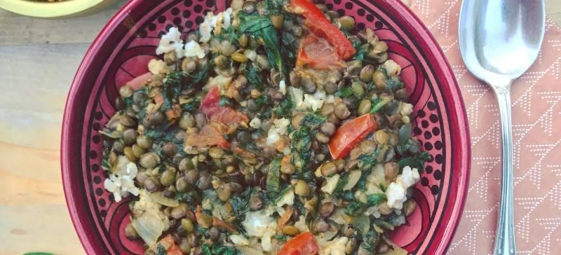 Recept linzencurry met spinazie: Indiase Dal Saag, Linzencurry met spinazie en kokosrijst