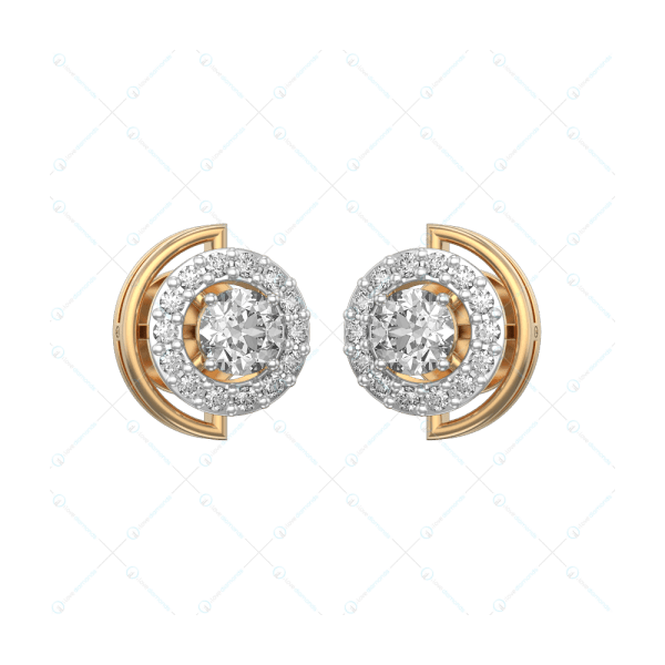 0.25 ct Adorable Circlets Solitaire Earrings in Yellow Gold for Women (Halo) v1