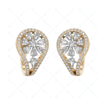 Blooming Curves Diamond Earring In Yellow Gold For Women v1