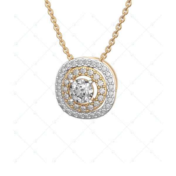 0.30 ct Magnfik Solitaire Pendant in Yellow Gold For Women(Halo) v1