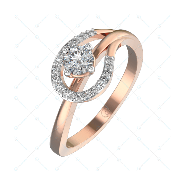 0.25 ct Brilliant Blob Solitaire Engagement Ring in Pink Gold For Women v1