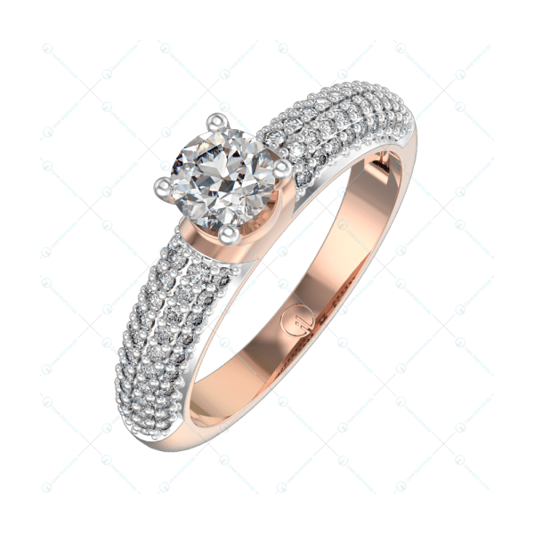 0.30 ct Reina Radiance Solitaire Engagement Ring for Women in Pink Gold For Women v1