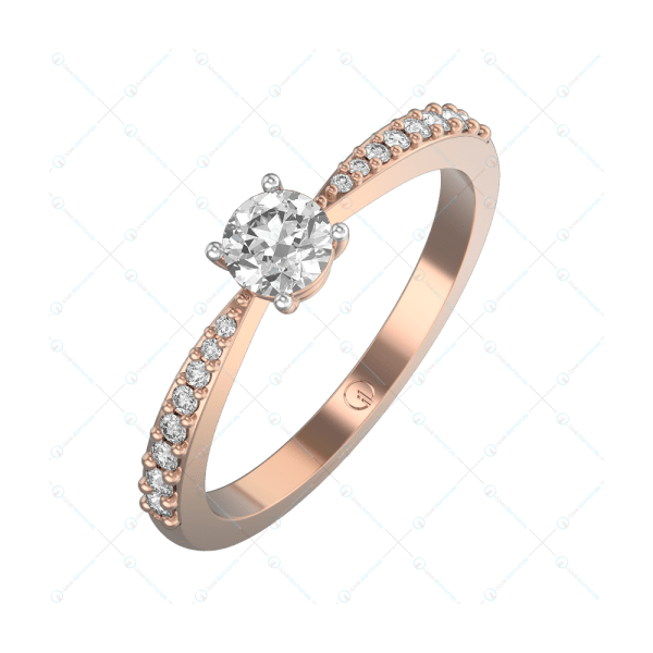 0.30 ct Radiant Aurora Solitaire Engagement Ring in Pink Gold For Women v1