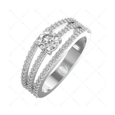 0.30 ct Ripples Of Joy Solitaire Engagement Ring in White Gold For Women v1