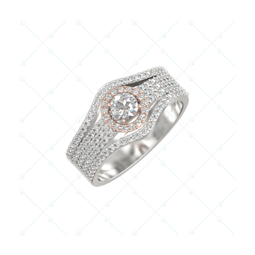 0.30 Ct Czarina Charisma Solitaire Engagement Ring In White Gold For Women (Halo) v1