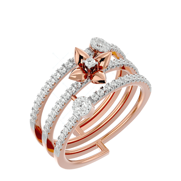 Delightful Loops Diamond Ring In Pink Gold For Women v1