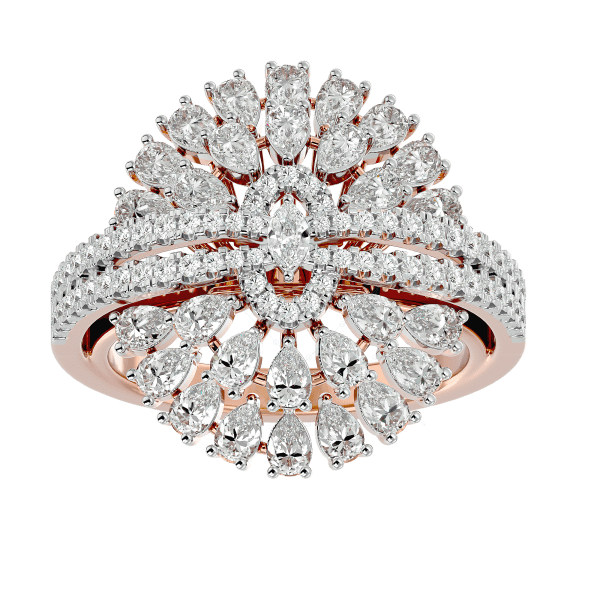 Ostentatious Blossom Diamond Ring In Yellow Gold For Women v2
