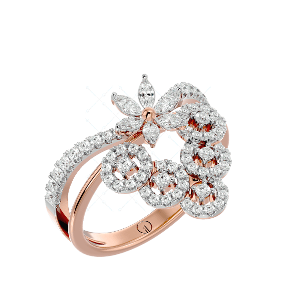 Enchanting Butterfly Diamond Ring In Pink Gold For Women v1
