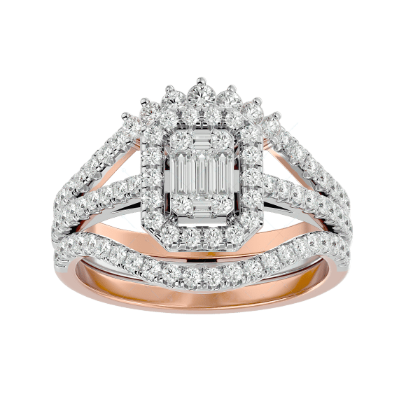 Dazzling Delight Solitaire Illusion diamond Ring in Pink Gold for Women v2