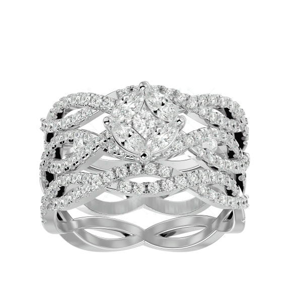 Classic Stunner Solitaire Illusion Diamond Ring in White Gold for Women v2