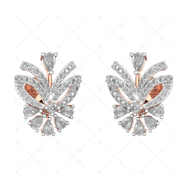 Ravishing Daily Dazzle Butterfly Studs In Pink Gold For Women v1