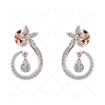 Heavenly Daily Dazzle Diamond Studs In Pink Gold For Women v1