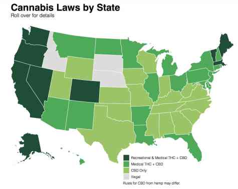 Cannabis Laws by state ranging from THC to CBD products