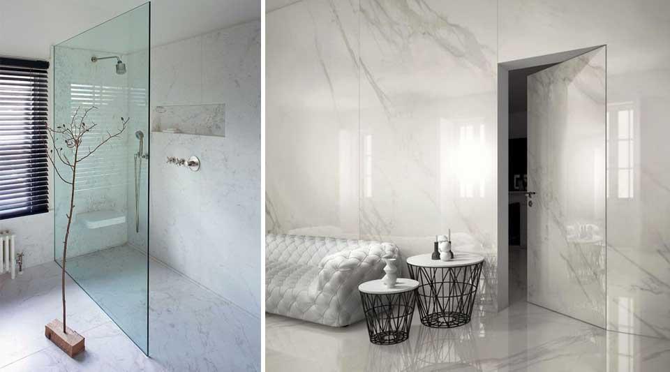 Calacatta marmo quasi bianco o grs per interni di lusso