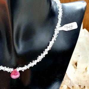 Girocollo Diamante Herkimer goccia Rubino, IStone