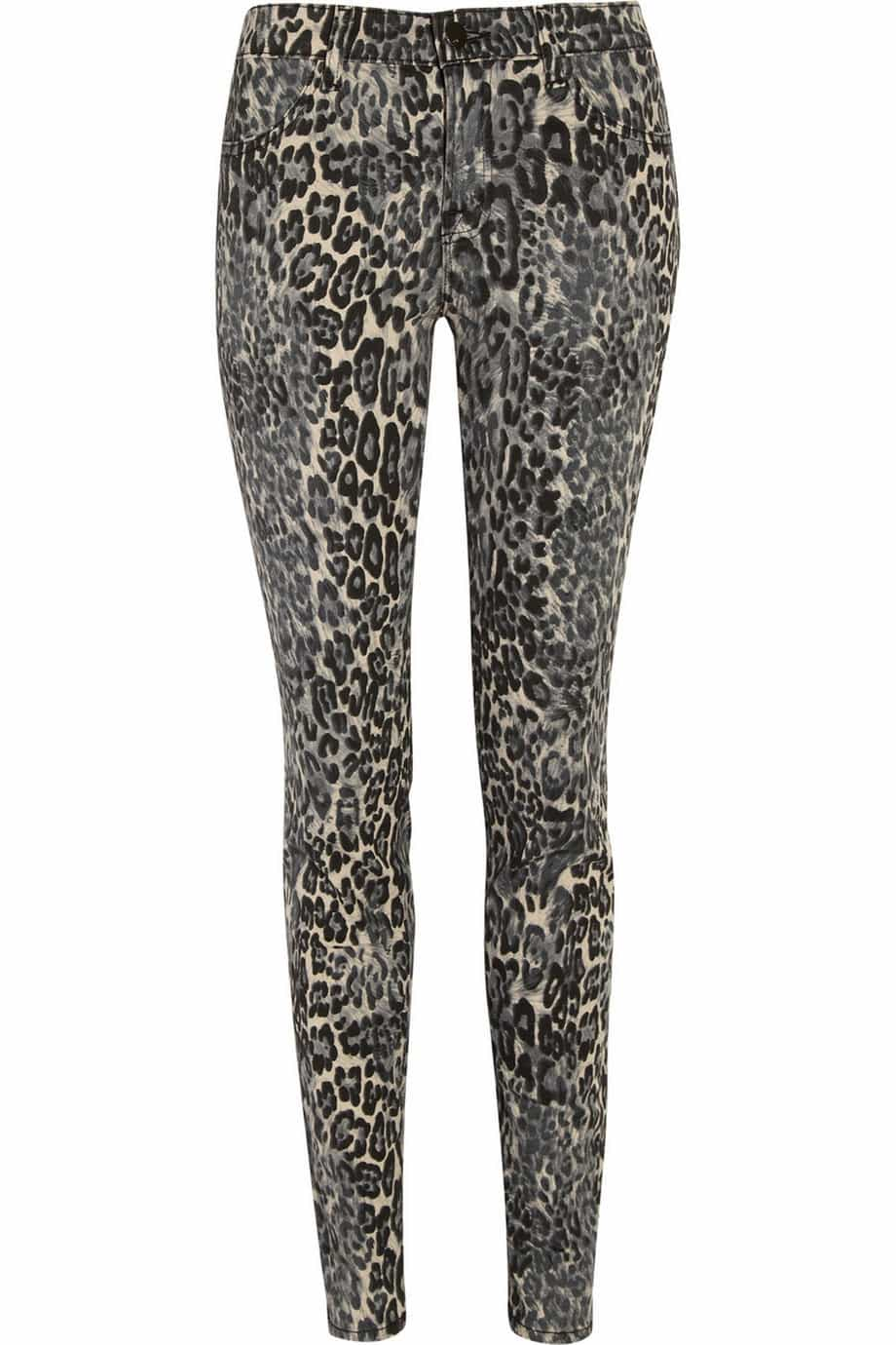 J Brand Denim Leopard-print mid-rise skinny jeans Original price £250 Now £112.50 55% off