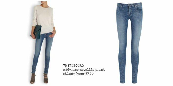 75 FAUBOURG mid-rise metallic print skinny