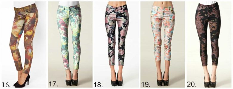 printed jeans -winter florals