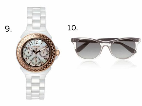 glasses, White rose gold watch, Marc Jacob sunglasses