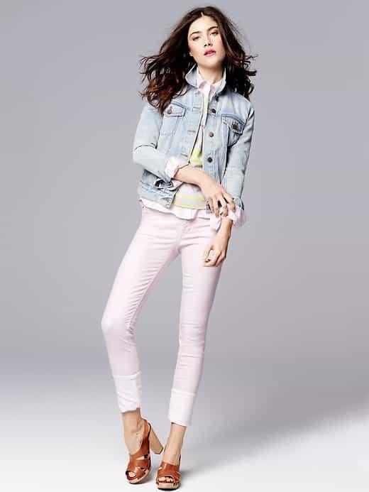 cuffed skinny, gap, pastel pink