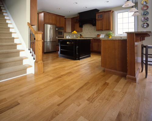 wood tile floor kitchen carpet sets floors or i love kitchens continuous hardwood flooring showing hickory species in photo can blend rooms making the