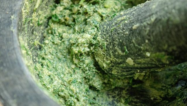 Ramp Pesto Paste in a mortar and pestle.