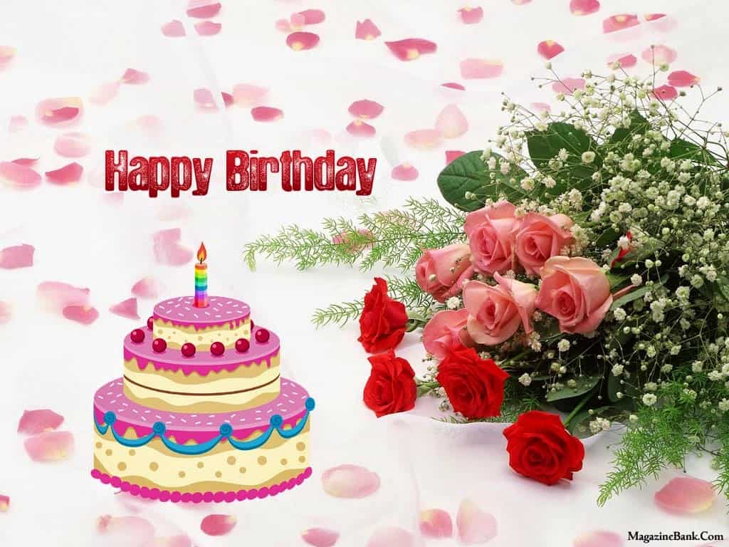 Happy Birthday Flowers For Her Happy Birthday Card Embossed