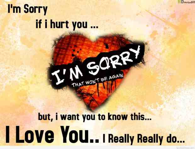 Romantic sorry quote love wallpaper HD