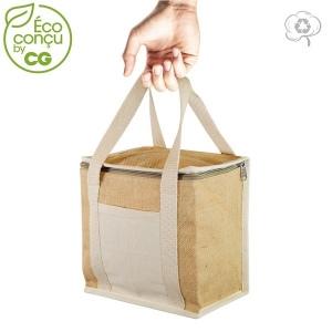 lunch bag isotherme en jute personnalisable