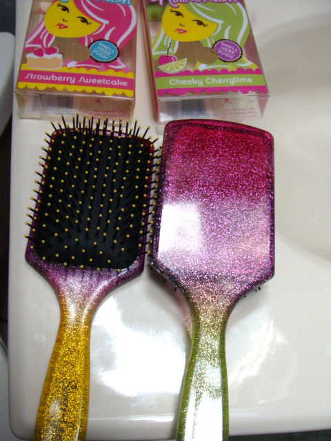 Cheeky Cherry lime and Strawberry Sweet cake hair brushes