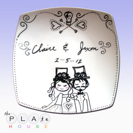 Personalized Ceramic Wedding Plate Handpainted With Steampunk Bride and Groom, The Couples First Names and Wedding Date