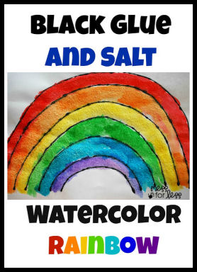 black glue and salt rainbow watercolor craft