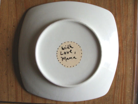 custom message on back of plate