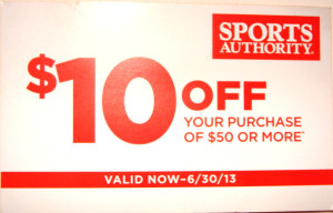$10 off Sports Authority coupon