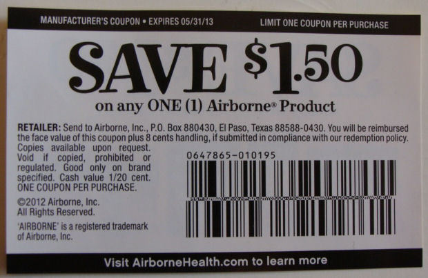 Airborne $1.50 off any product coupon 2013
