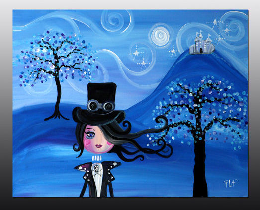 Blue Steampunk Girl Dream Castle