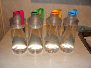 color coded water bottles