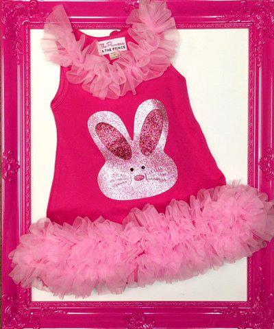 pink easter dress with bunny