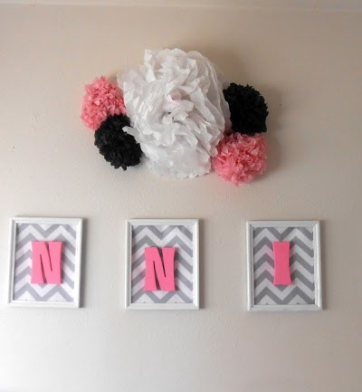 How to Make your child's room POP, by putting wooden letters in picture frames. Baby Name Wall Art