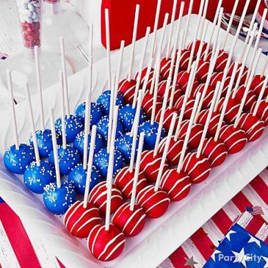 Patriotic Cake Pops for Fourth of July