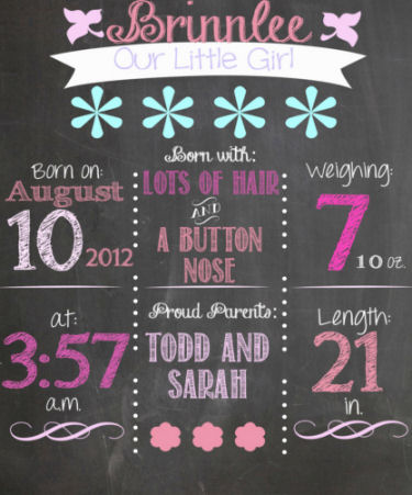 chalkboard birth announcement