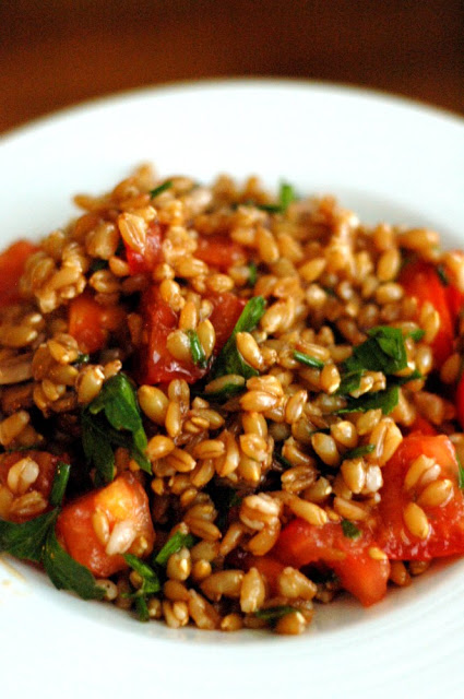 farro salad with mushrooms tomatoes chives