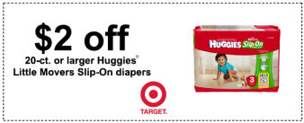 Huggies Diapers $2 off coupon at Target