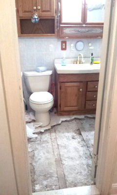 bathroom tile cemented to the sub floor