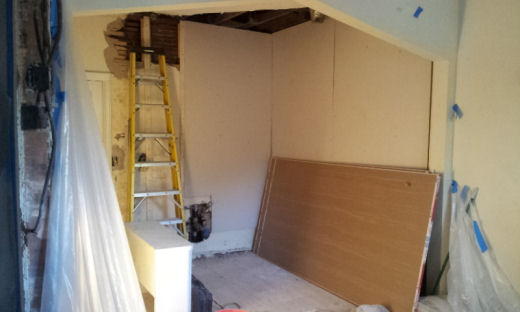 setting up the walls and ceiling for some new sheet rock