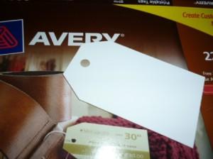 Avery tag close up