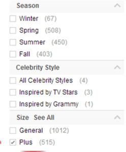 dressfirst search options