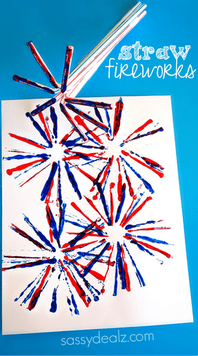 Photo credit and more instructions here http://www.sassydealz.com/2014/06/fireworks-craft-kids-using-straws.html