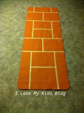DIY Indoor hopscotch mat  lines all done